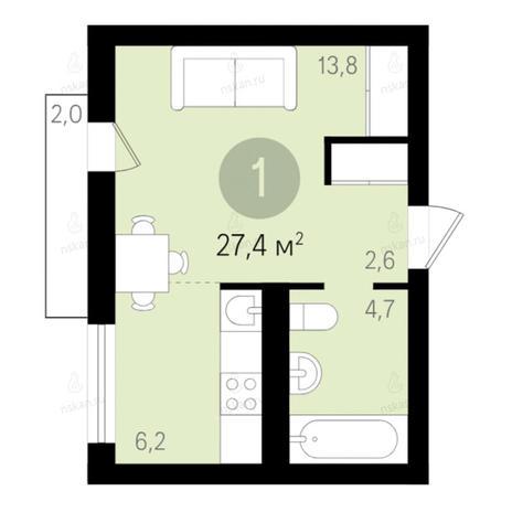Вариант №2675, 1-комнатная квартира в жилом комплексе Дунаевский