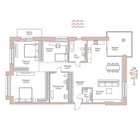 Вариант №2888, 4-комнатная квартира в жилом комплексе Flora & Fauna