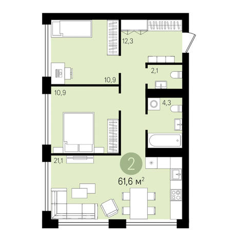 Вариант №3288, 2-комнатная квартира в жилом комплексе