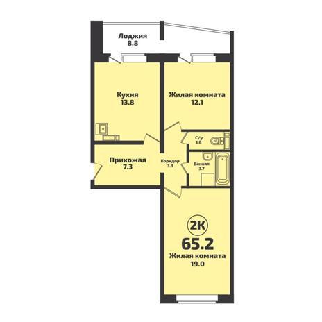 Вариант №5725, 2-комнатная квартира в жилом комплексе Родники