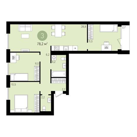 Вариант №3016, 4-комнатная квартира в жилом комплексе Европейский Берег