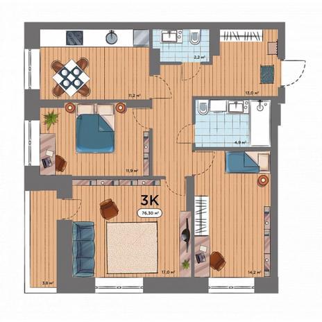 Вариант №6574, 3-комнатная квартира в жилом комплексе