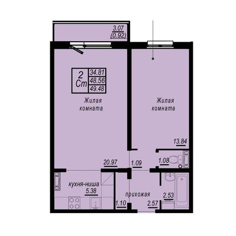 Вариант №4939, 2-комнатная квартира в жилом комплексе