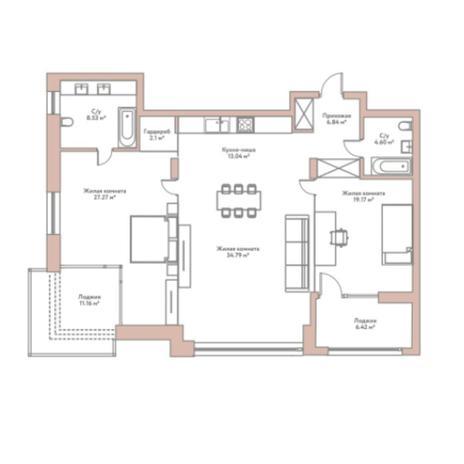 Вариант №5971, 3-комнатная квартира в жилом комплексе