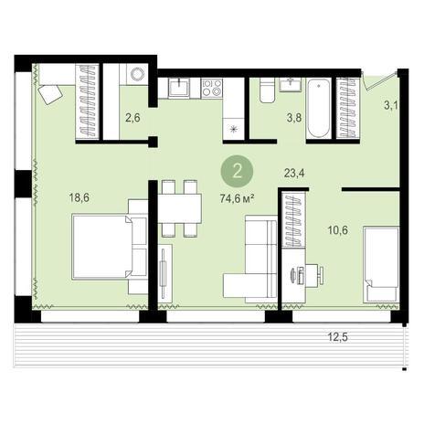 Вариант №4296, 3-комнатная квартира в жилом комплексе Пшеница