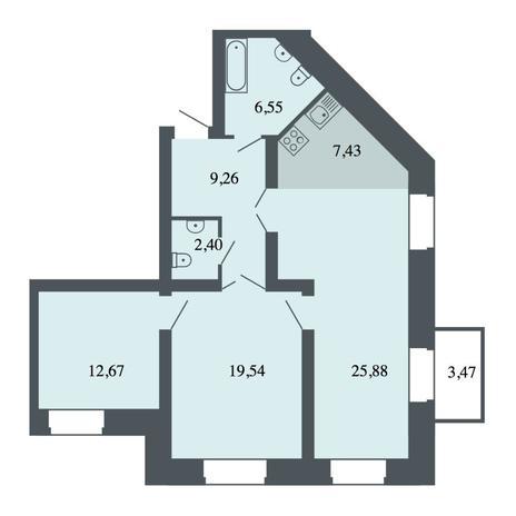 Вариант №4468, 4-комнатная квартира в жилом комплексе Спектр