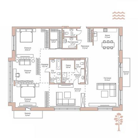 Вариант №2881, 4-комнатная квартира в жилом комплексе