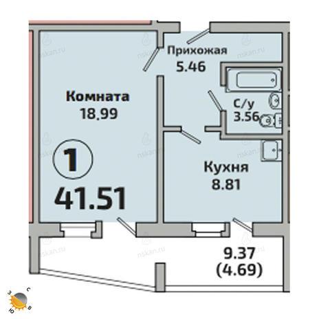 Вариант №2522, 1-комнатная квартира в жилом комплексе Приозерный