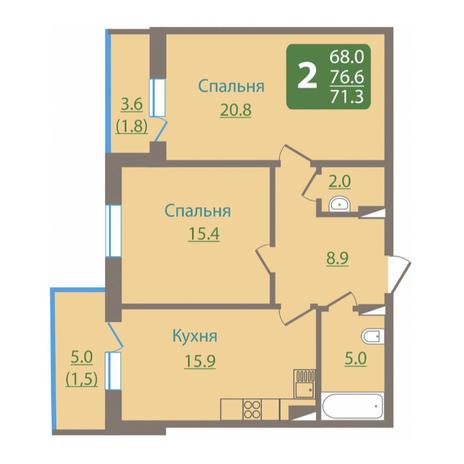 Вариант №3041, 2-комнатная квартира в жилом комплексе
