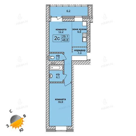 Вариант №1595, 2-комнатная квартира в жилом комплексе Северная корона