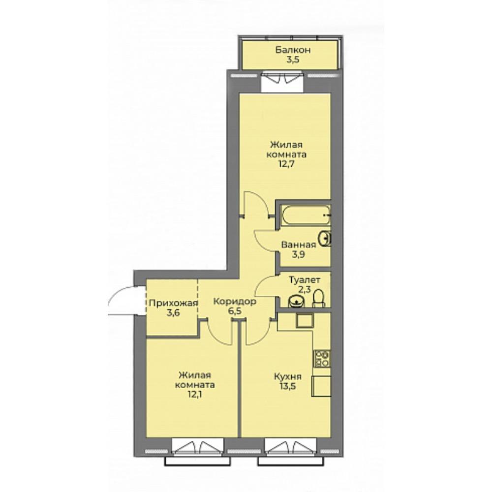 Планировка 2-комнатная площадью 54.6 м<sup>2</sup> в ЖК Эскимо