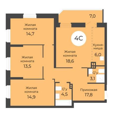 Вариант №5678, 4-комнатная квартира в жилом комплексе