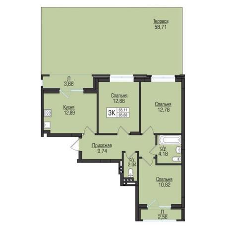 Вариант №5071, 3-комнатная квартира в жилом комплексе