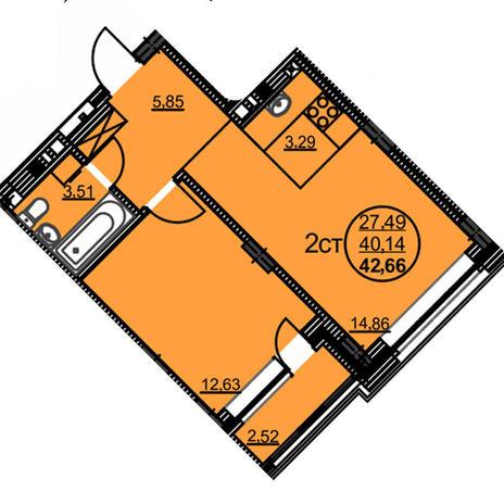 Вариант №3775, 2-комнатная квартира в жилом комплексе