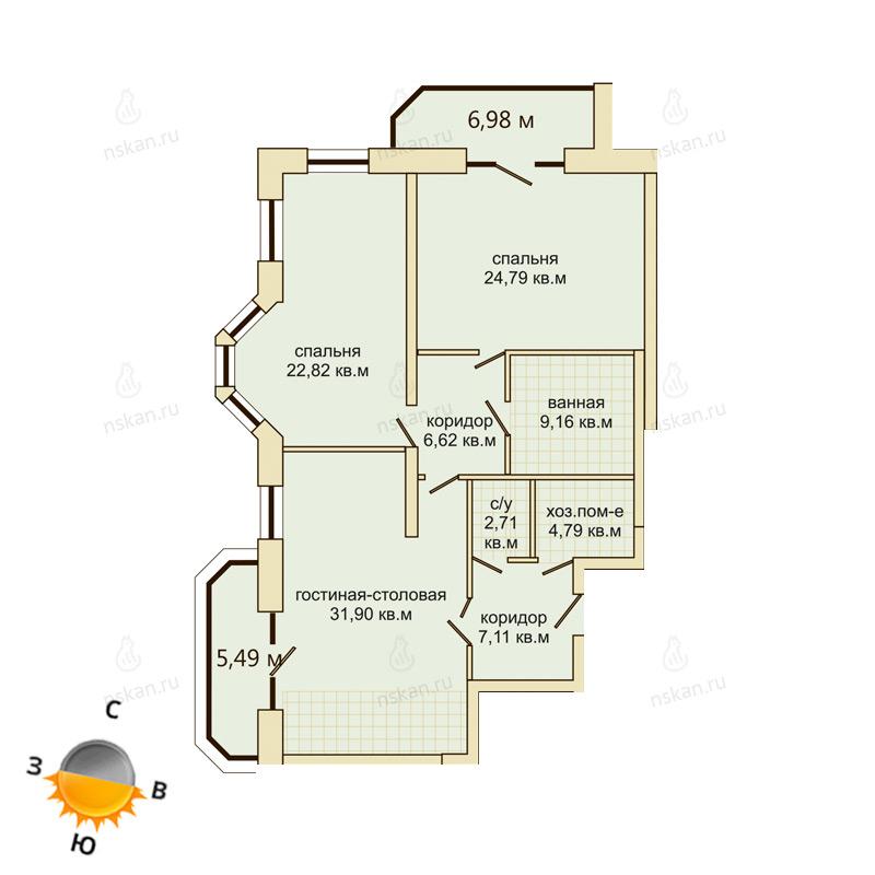 Планировка 3-комн. студия площадью 110.3 м<sup>2</sup> в ЖК Montblanc