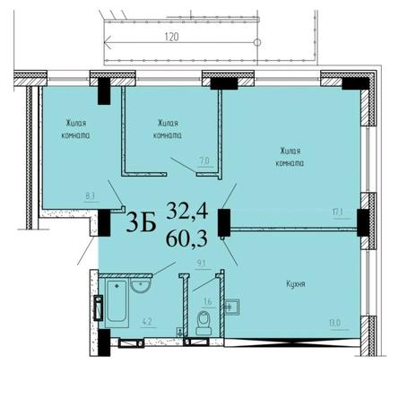 Вариант №6529, 3-комнатная квартира в жилом комплексе