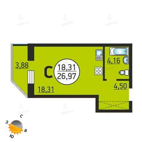 Вариант №1375, 1-комнатная квартира в жилом комплексе Семьи Шамшиных 55