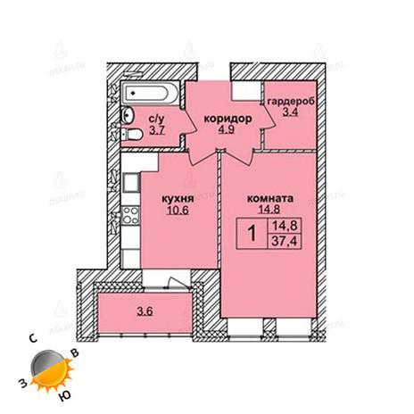 Вариант №1597, 1-комнатная квартира в жилом комплексе