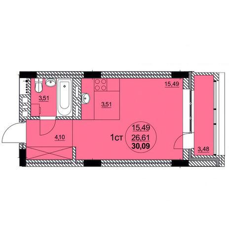 Вариант №3756, 1-комнатная квартира в жилом комплексе