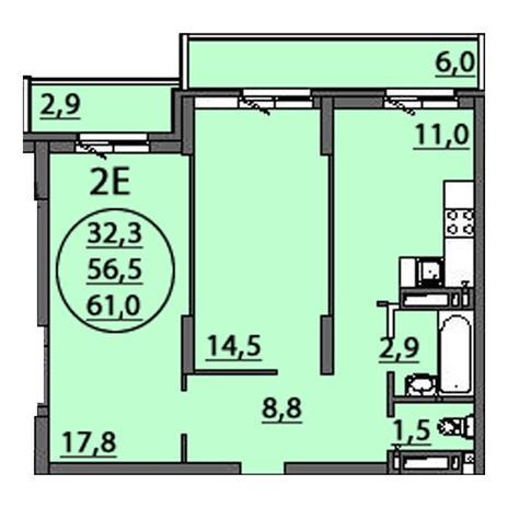 Вариант №2509, 2-комнатная квартира в жилом комплексе