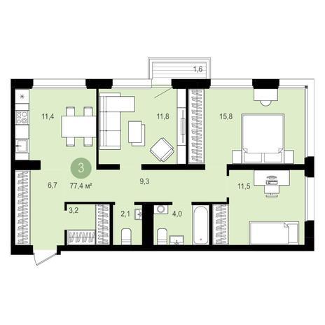 Вариант №4152, 3-комнатная квартира в жилом комплексе