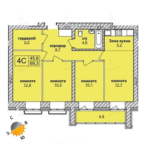 Вариант №1619, 4-комнатная квартира в жилом комплексе