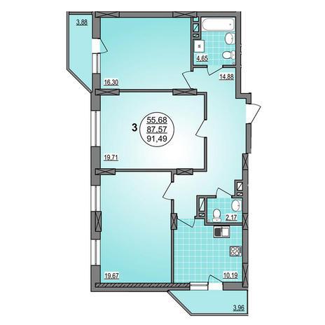 Вариант №3885, 3-комнатная квартира в жилом комплексе Гурьевский