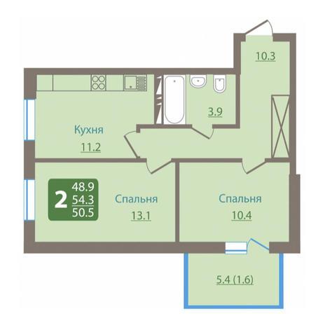Вариант №3031, 2-комнатная квартира в жилом комплексе