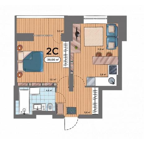 Вариант №6577, 2-комнатная квартира в жилом комплексе Дивногорский