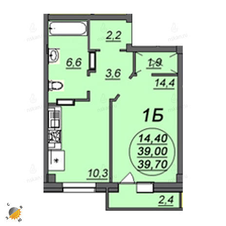 Вариант №2362, 1-комнатная квартира в жилом комплексе Аэропорт