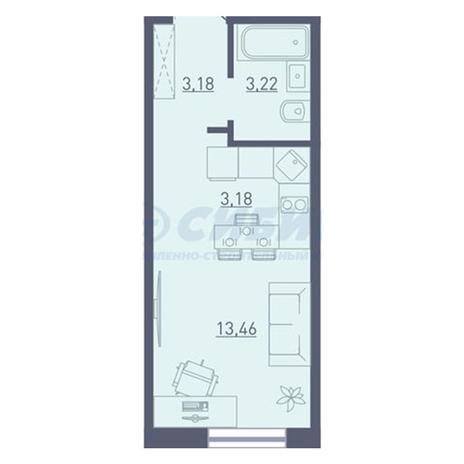 Вариант №3748, 1-комнатная квартира в жилом комплексе Радуга Сибири