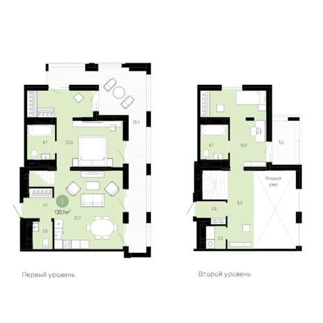 Вариант №6041, 3-комнатная квартира в жилом комплексе