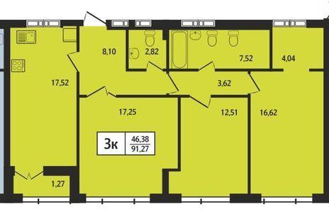 Вариант №396, 4-комнатная квартира в жилом комплексе Статус