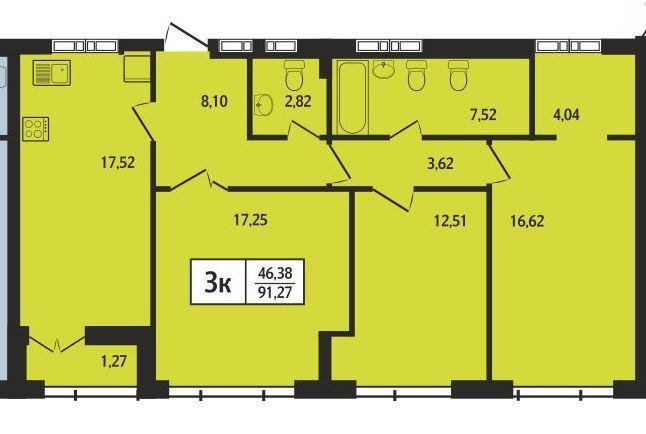 Планировка 4-комн. студия площадью 91.27 м<sup>2</sup> в ЖК Статус