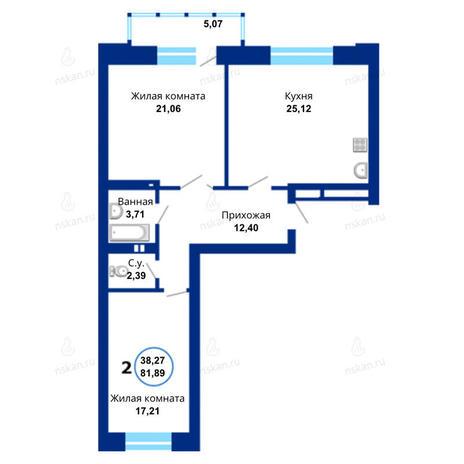Вариант №1677, 3-комнатная квартира в жилом комплексе Бавария