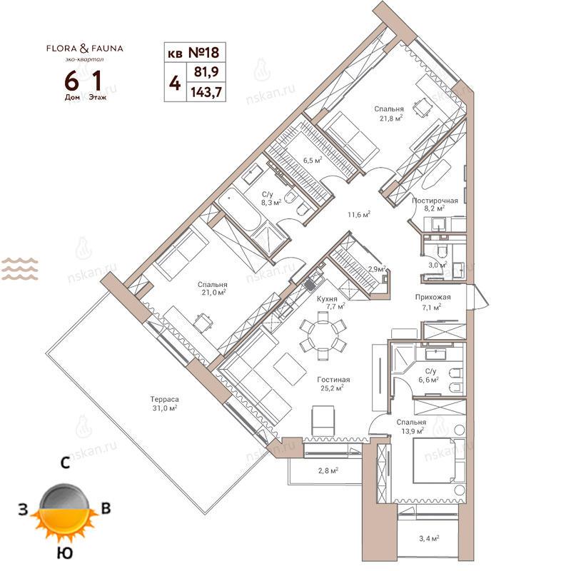 Планировка 4-комн. студия площадью 143.7 м<sup>2</sup> в ЖК Flora & Fauna