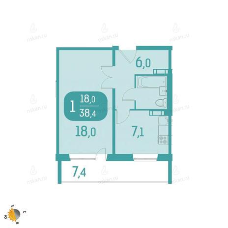 Вариант №2321, 1-комнатная квартира в жилом комплексе Аквамарин