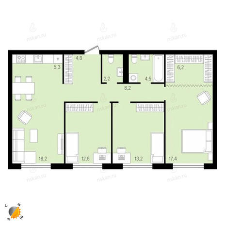 Вариант №2148, 4-комнатная квартира в жилом комплексе