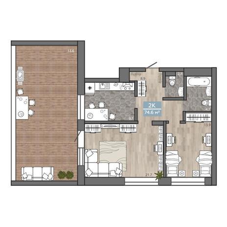 Вариант №3117, 2-комнатная квартира в жилом комплексе На Королева