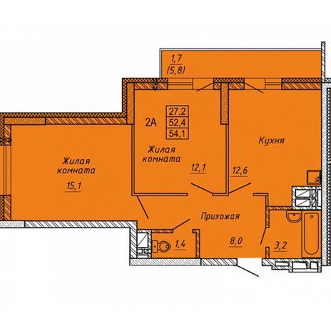 Вариант №5658, 2-комнатная квартира в жилом комплексе Сокольники