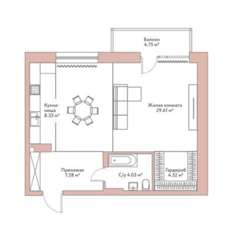 Вариант №5947, 1-комнатная квартира в жилом комплексе