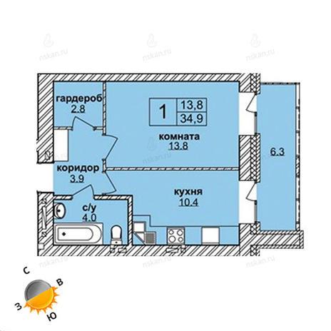 Вариант №1590, 1-комнатная квартира в жилом комплексе Северная корона