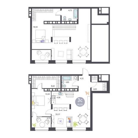 Вариант №3374, 3-комнатная квартира в жилом комплексе