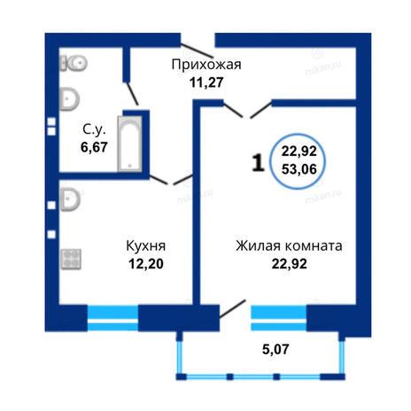 Вариант №1488, 1-комнатная квартира в жилом комплексе