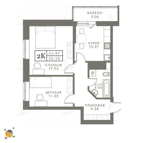 Вариант №2450, 2-комнатная квартира в жилом комплексе Эрмитаж