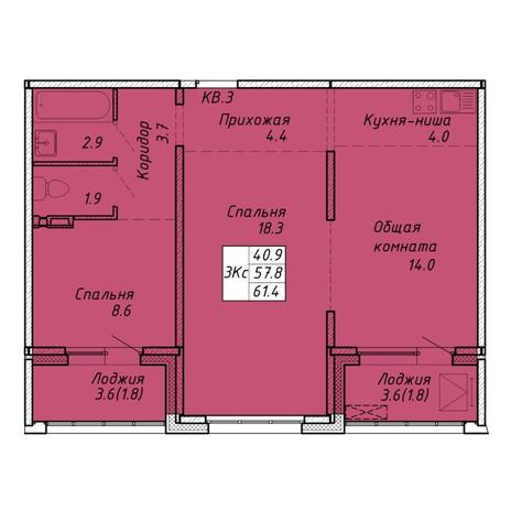 Вариант №6469, 3-комнатная квартира в жилом комплексе