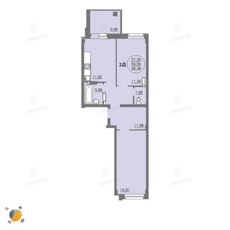 Вариант №2458, 2-комнатная квартира в жилом комплексе