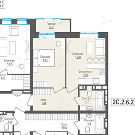 Вариант №848, 2-комнатная квартира в жилом комплексе Пифагор