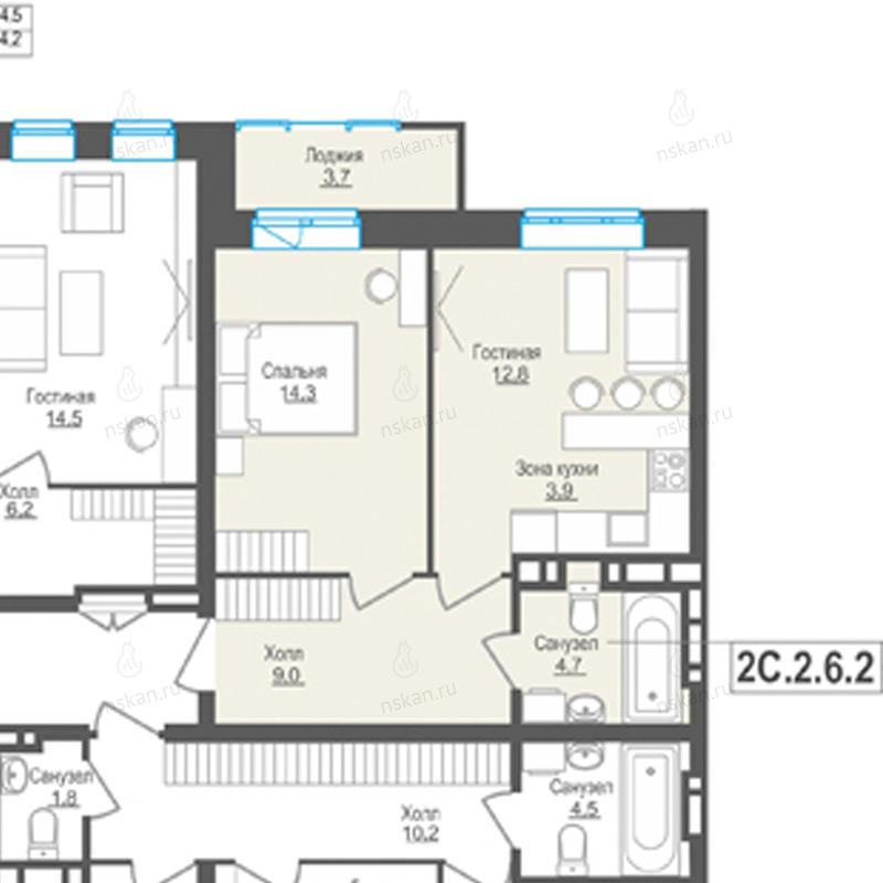Планировка 2-комн. студия площадью 44.7 м<sup>2</sup> в ЖК Пифагор