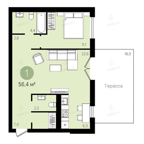 Вариант №921, 2-комнатная квартира в жилом комплексе Дунаевский